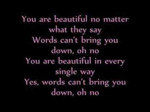 lyrics christina aguilera beautiful: