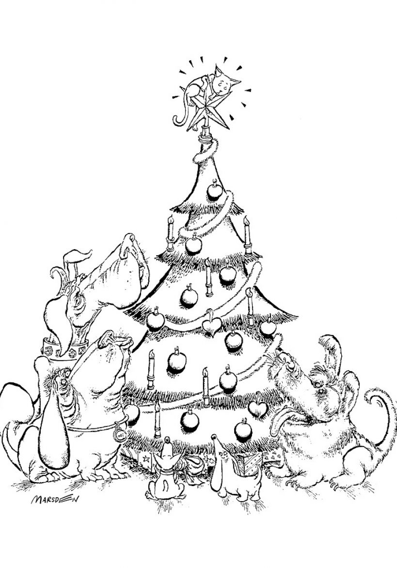 Black and white christmas tree drawing pictures 2