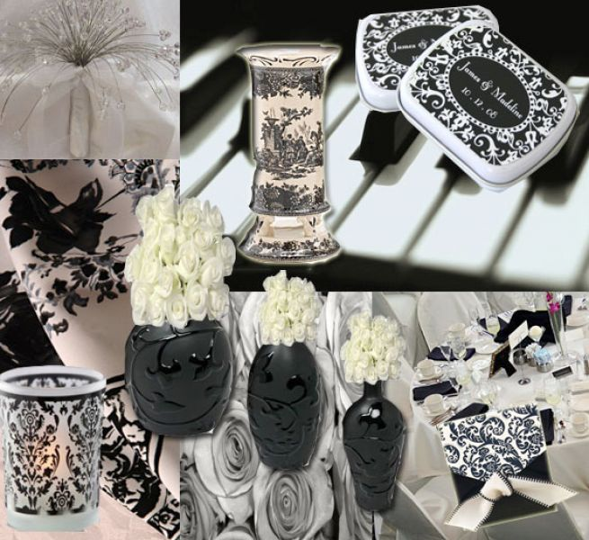 Bridal Bouquets for a Black & White Damask Wedding