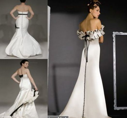 black and white wedding dresses with sleeves pictures 1