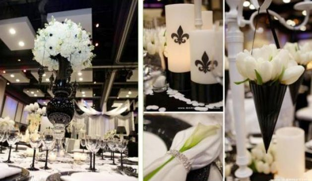 Home wedding decorations black and white black and white for Black and white reception tables
