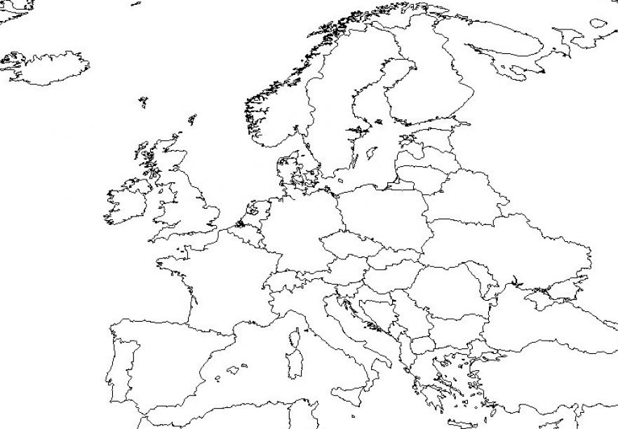 Blank map of europe and asia