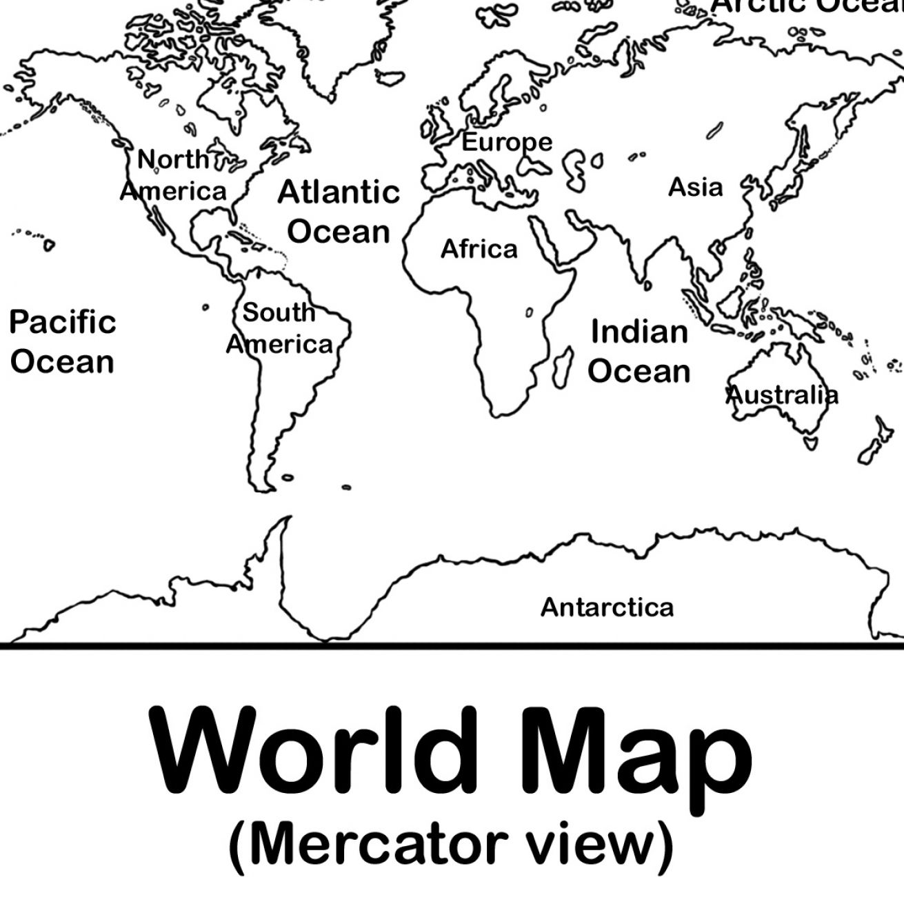 Free Coloring Pages Of Blank Map Of World