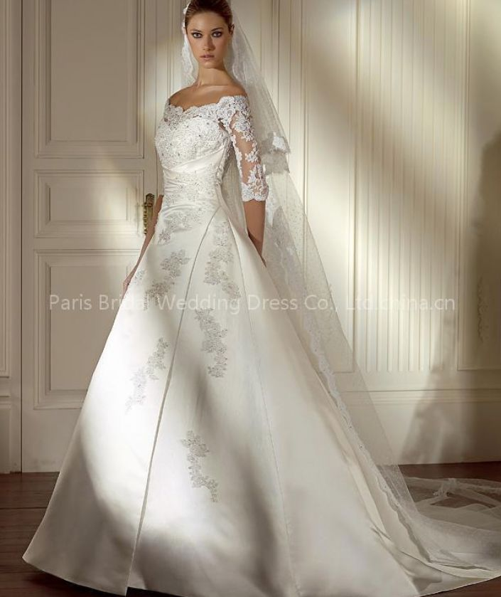 Bridal gowns with lace sleeves pictures 3