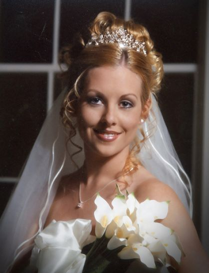 Half-Up bridal hairstyle by Calgary's In Motion Style Wedding tiaras bridal