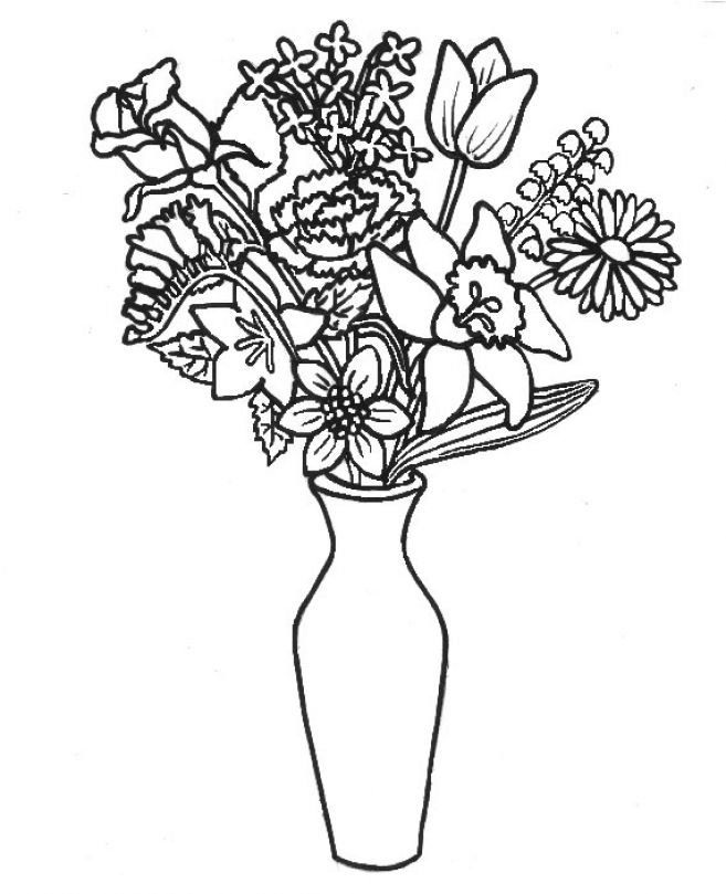 Flowers In A Vase Coloring Pages. Flowers Coloring Pages - Free