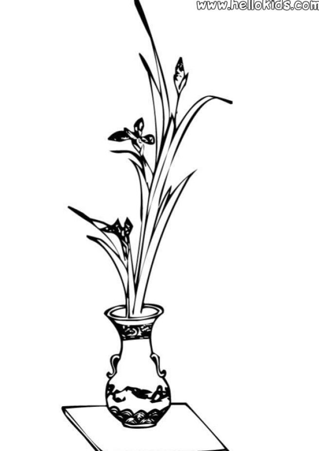 Flowers In A Vase Coloring Pages. Vase coloring page