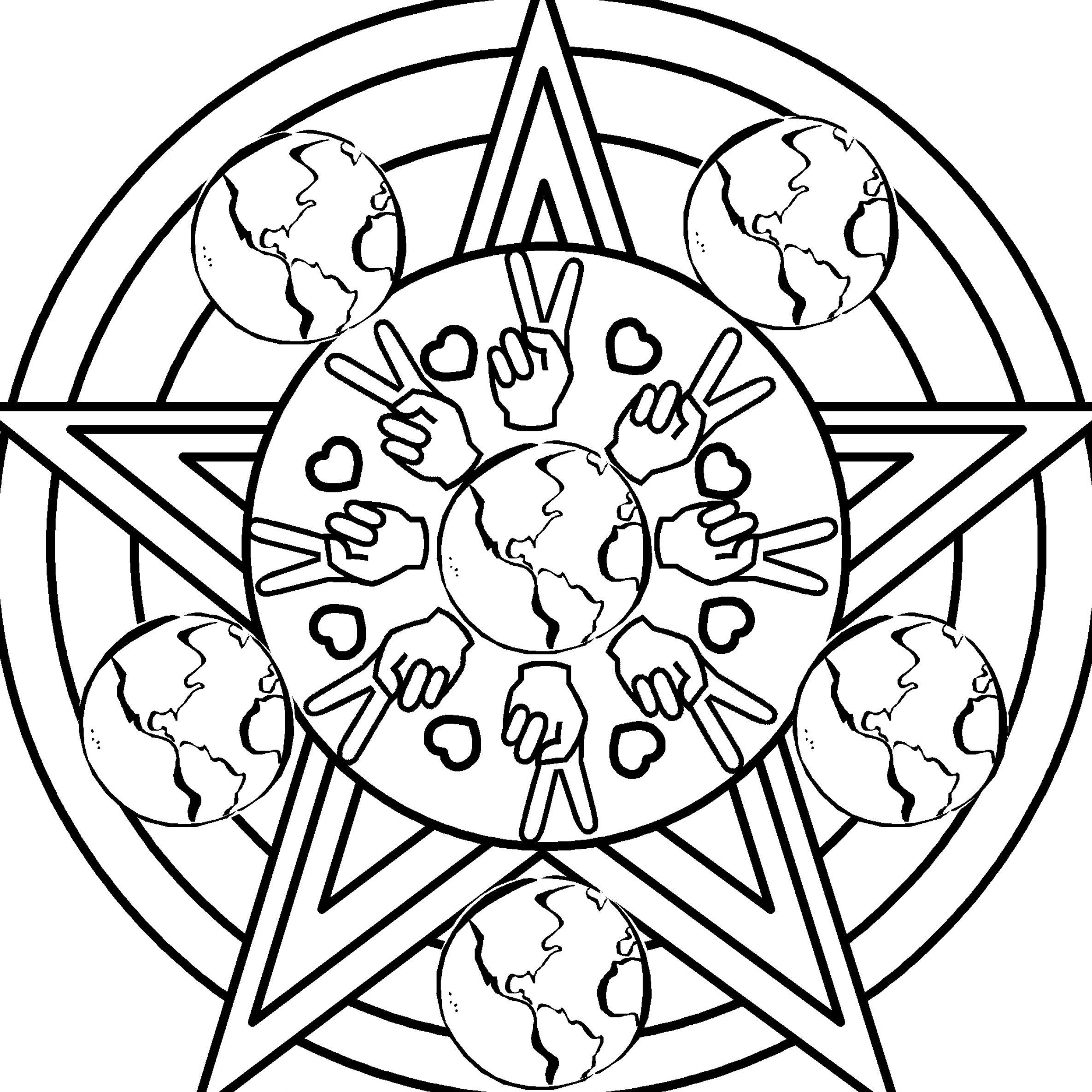 heart peace sign coloring pages - photo#5