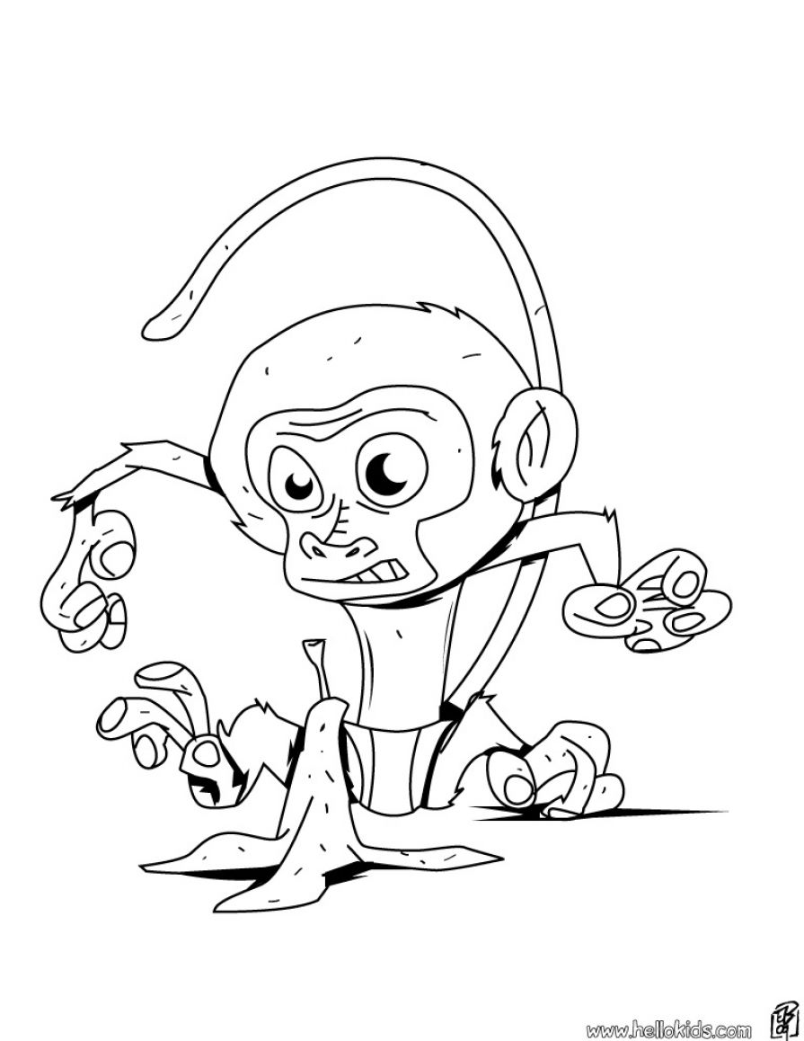 Baby Monkey Head Coloring Page