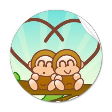Cute cartoon monkey love - photo#3