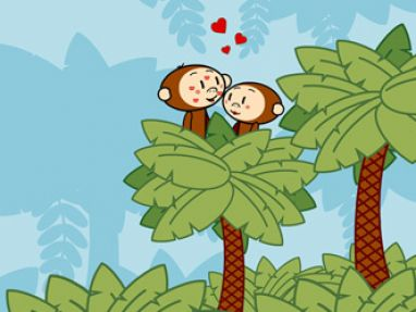 Cute cartoon monkey love - photo#8