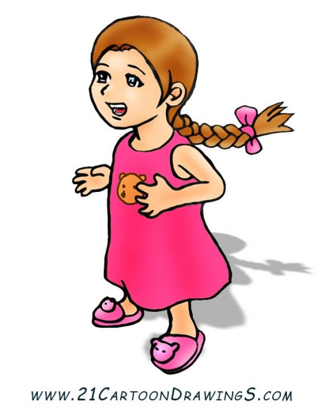 little cartoon girl with brown hair. Cartoon girl dressup