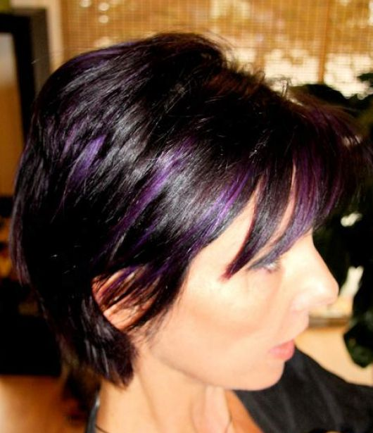 Dark brown hair color with purple pictures 1
