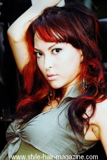 Dark red hair with black highlights pictures 1