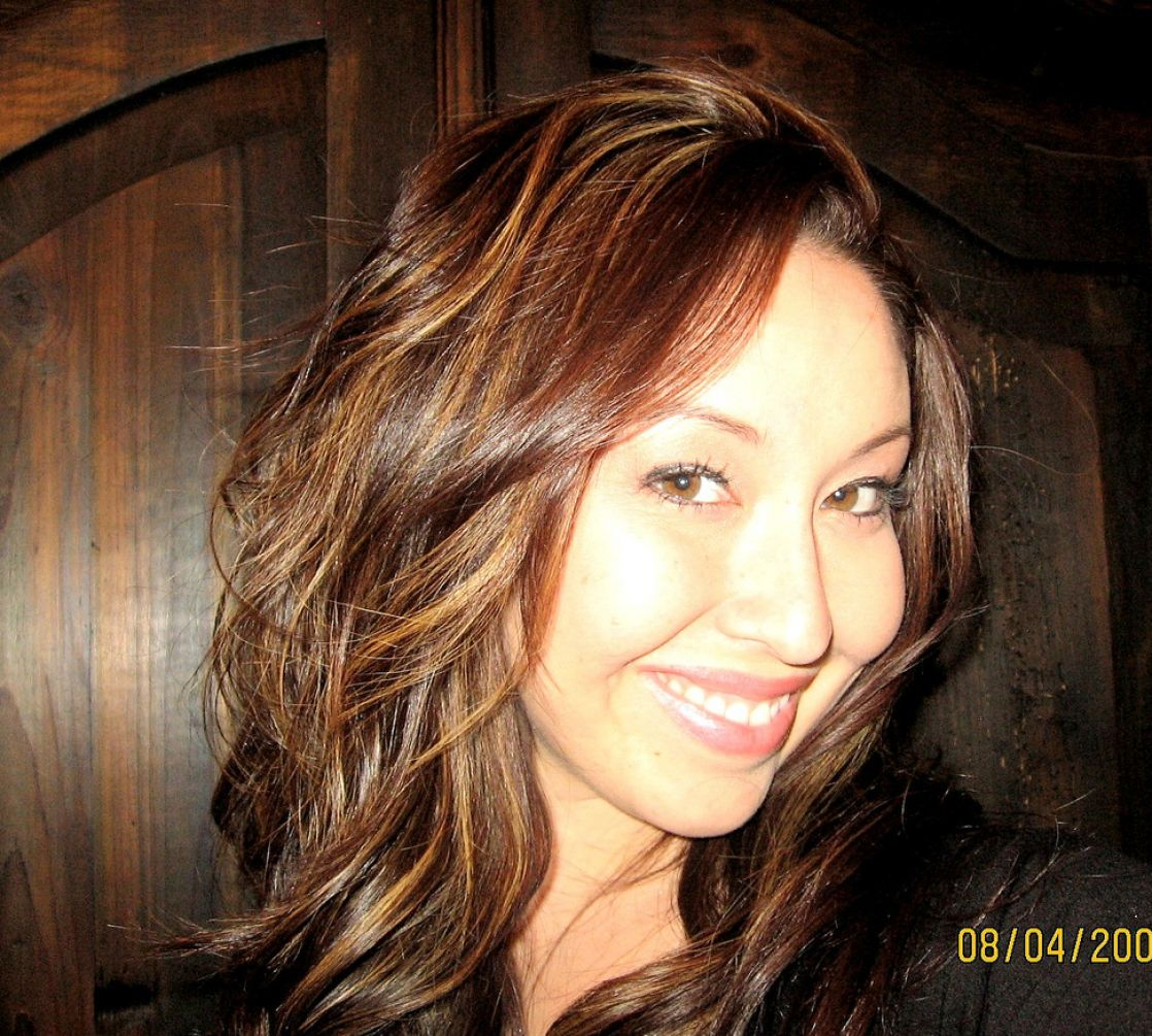 wavy and layered dark brown hair with light brown highlights makes for ...
