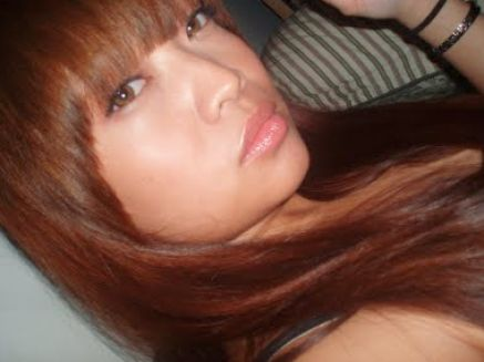 brown hair with caramel highlights. Red and caramel highlights on