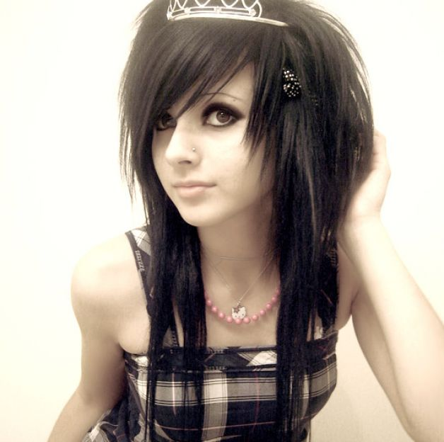 emo girl with black and blue hair. Brown hair cute emo girls emo