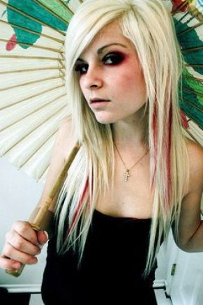 Emo Haircuts For Girls With Long Blonde Hair. Long blonde emo hairstyle for