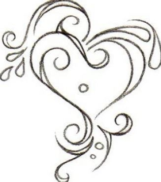Black and white engraved heart heart clipart