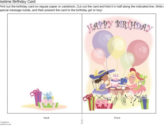 birthday cards free online printable for girls pictures