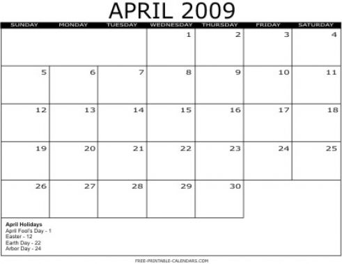 april 2011 calendar with holidays printable. april 2011 calendar printable