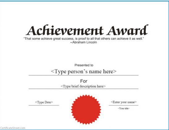 Gargantuan image regarding free printable certificate of achievement