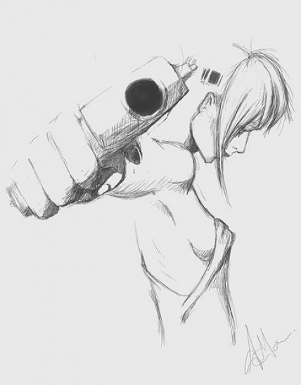 girl with gun drawing 1