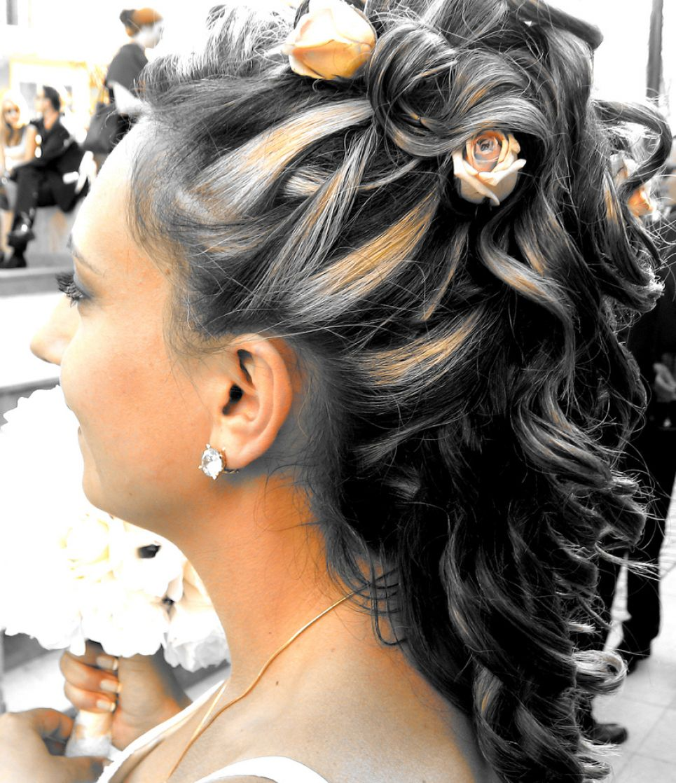 Half up half down curly updos pictures 1