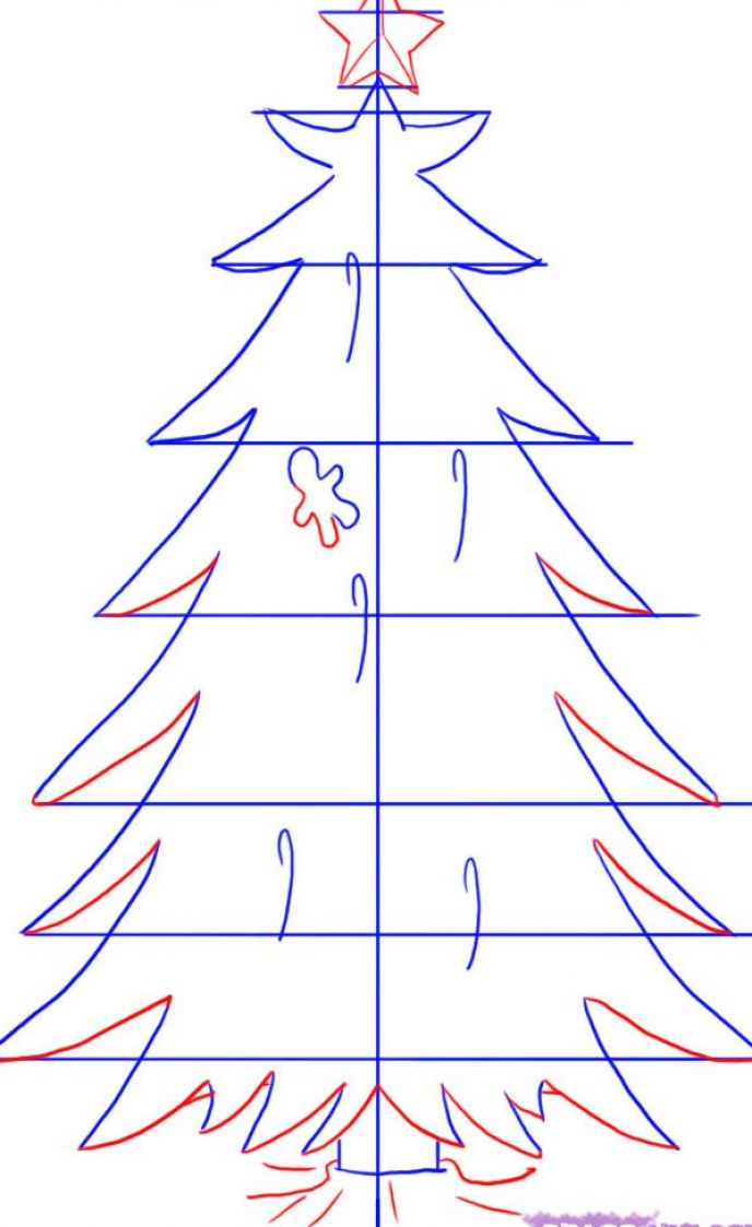 Christmas Tree Easy Drawing : How to draw a christmas tree for kids step apps