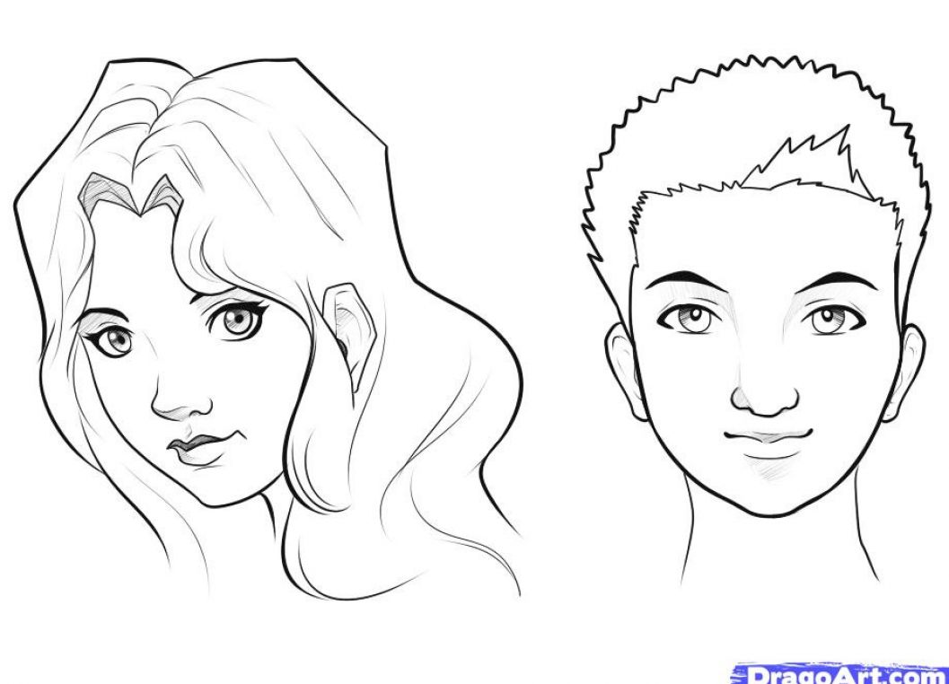 Woman smiling looking down coloring pages for How to draw a girl looking down