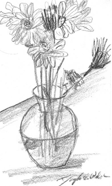 Flower vase drawing how to draw a plant single rose drawing