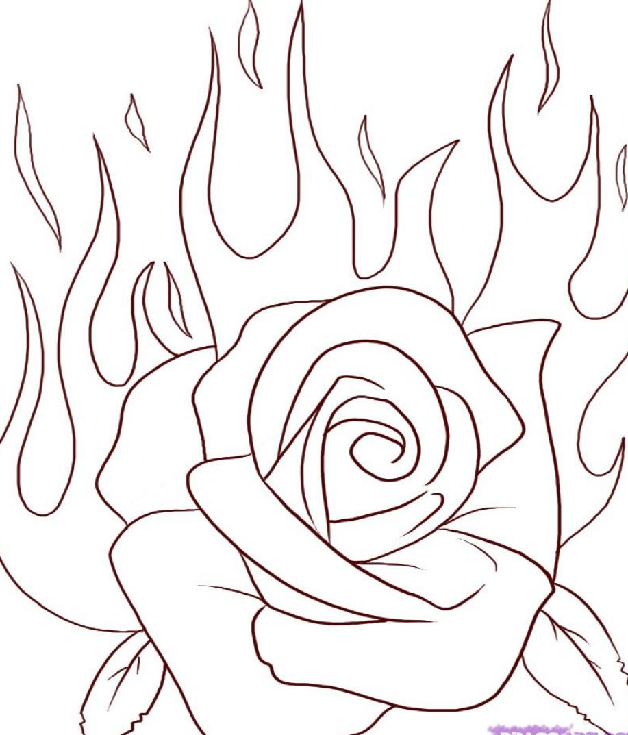 How to draw a rose for kids step by step Simple Rose Sketch Step By Step