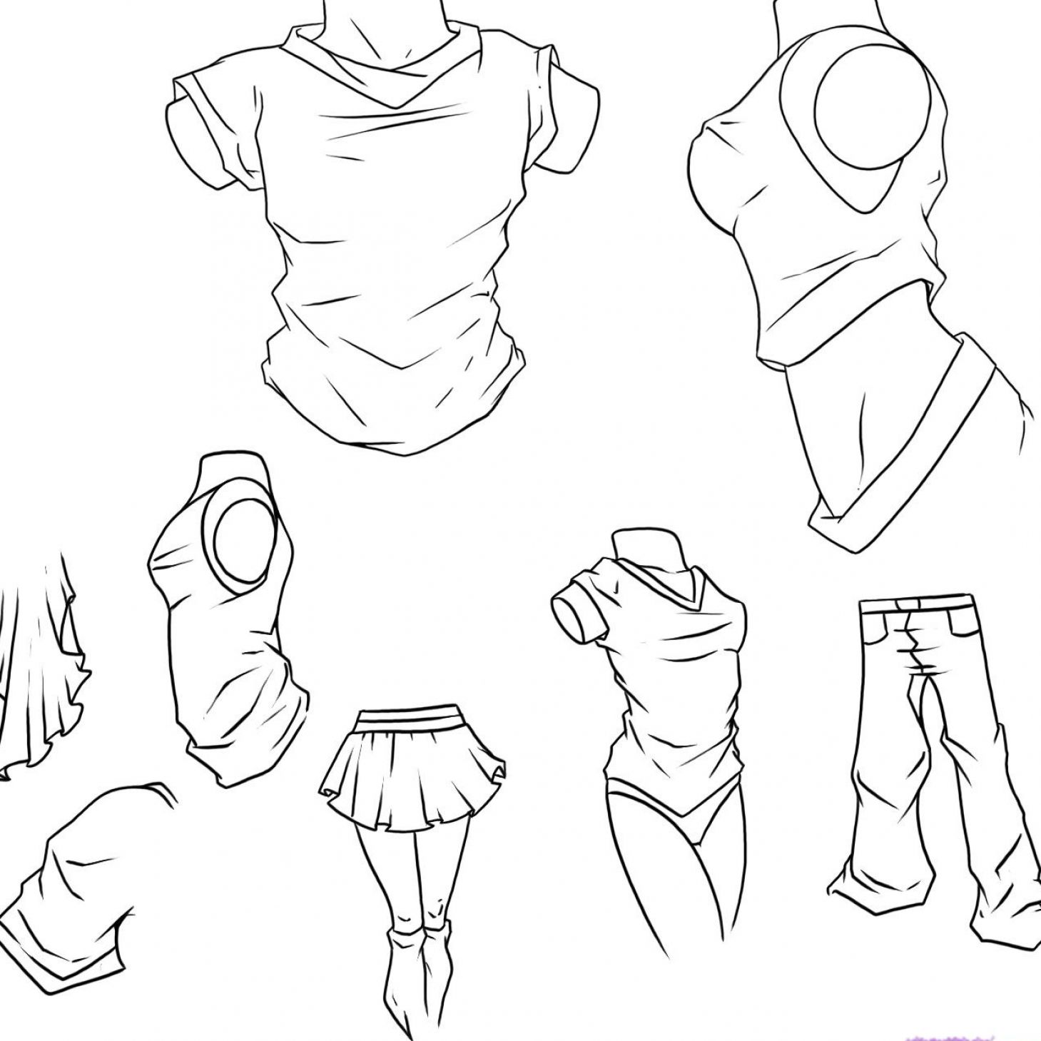 How to draw anime clothes girls pictures 1