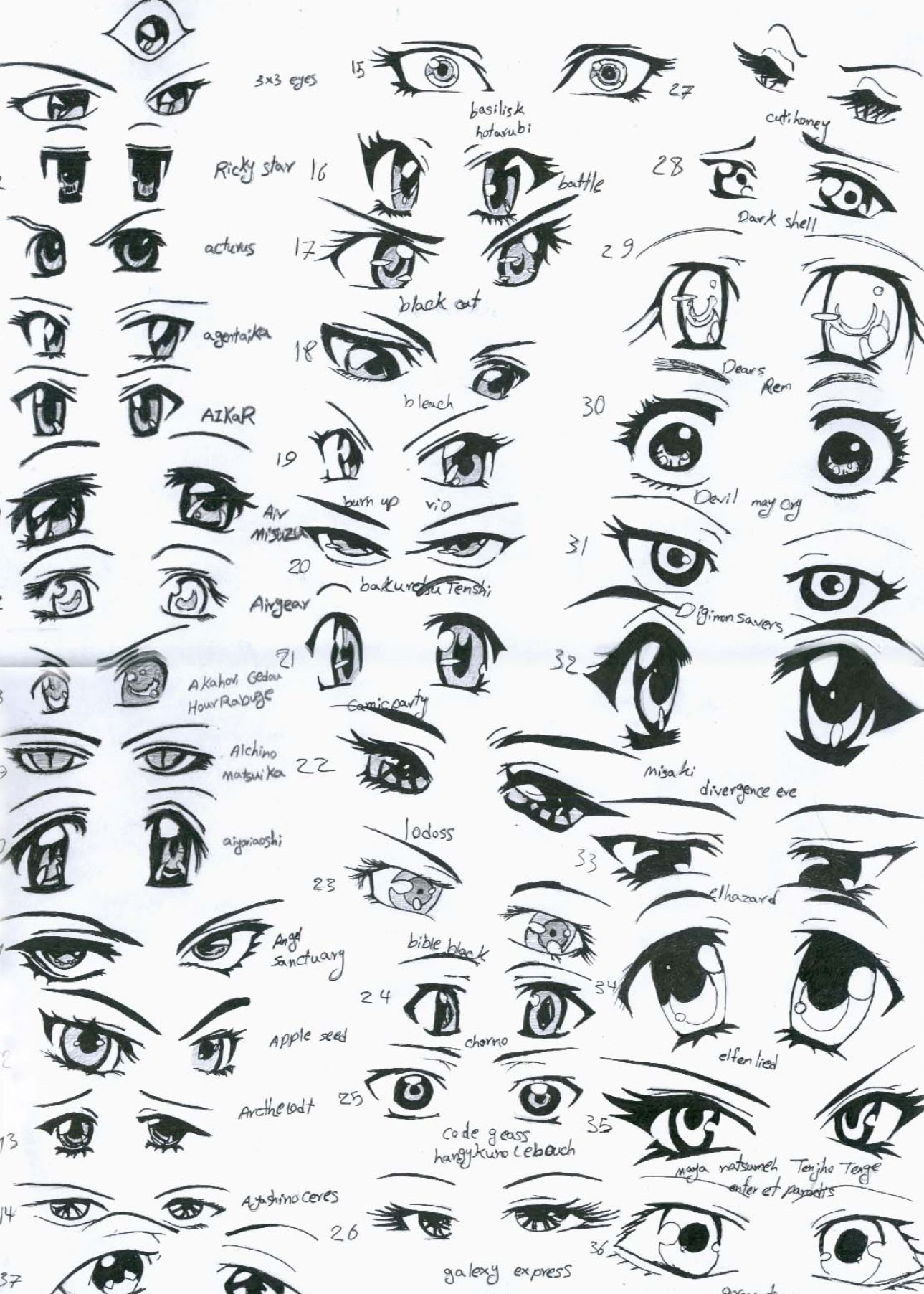 Scribble Drawing Anime : How to draw anime eyes female