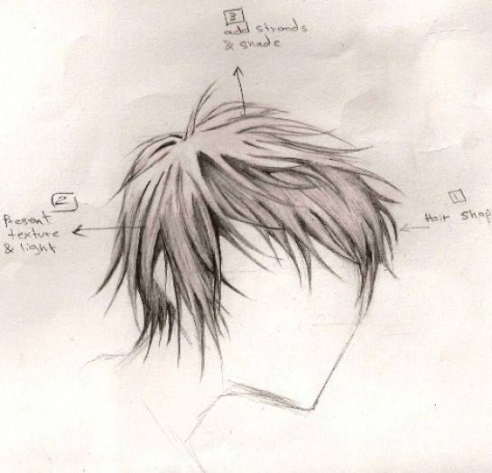 How to draw anime hair boys pictures 1