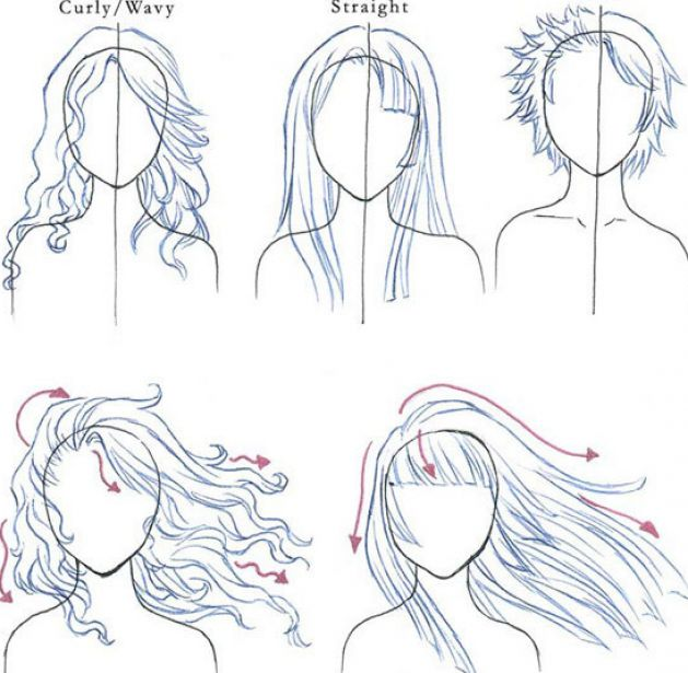 How to draw anime hair curls pictures 1