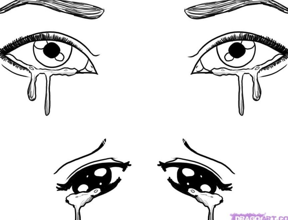 How to Draw Crying Eyes, Eyes, People free step-by-step drawing tutorial