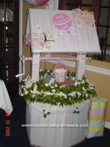 Make Baby Shower Wishing Well http://free.bridal-shower-themes.com/how-to-make-a-baby-shower-wishing-well