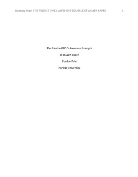 apa research paper front page Tips for writing a research paper in apa research papers although generally similar may have sections of an apa formatted research paper: title page.