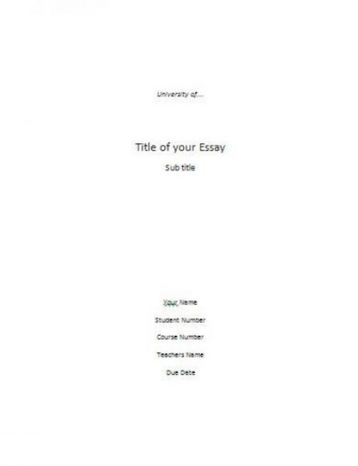 Essay cover page example