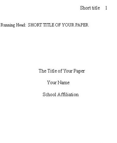title page for a book report in apa