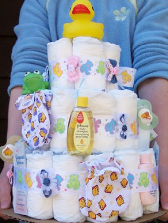 How to make a diaper tower pictures 2
