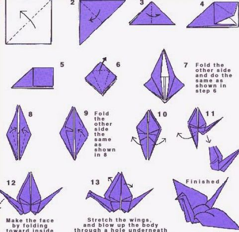 How to make a paper crane that flaps its pictures 1
