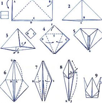 how to draw a paper crane
