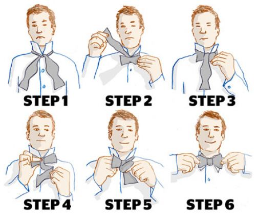 Step by step colored diagrams of how to tie a bow tie instructions.