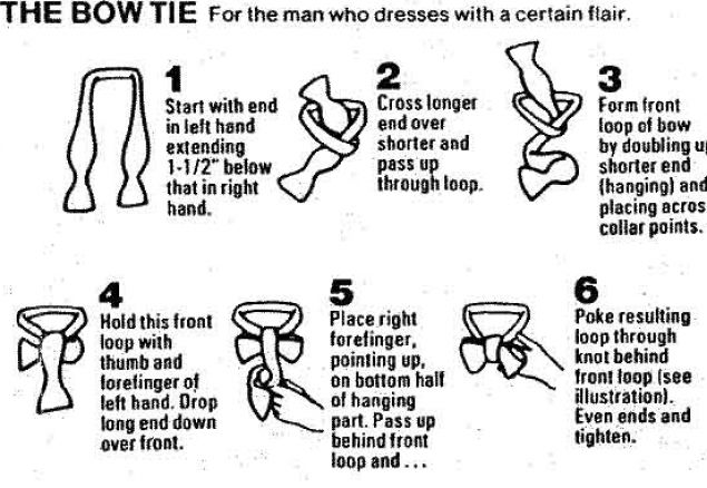 How to tie a bow-tie, with 16 detailed illustrations and related links.