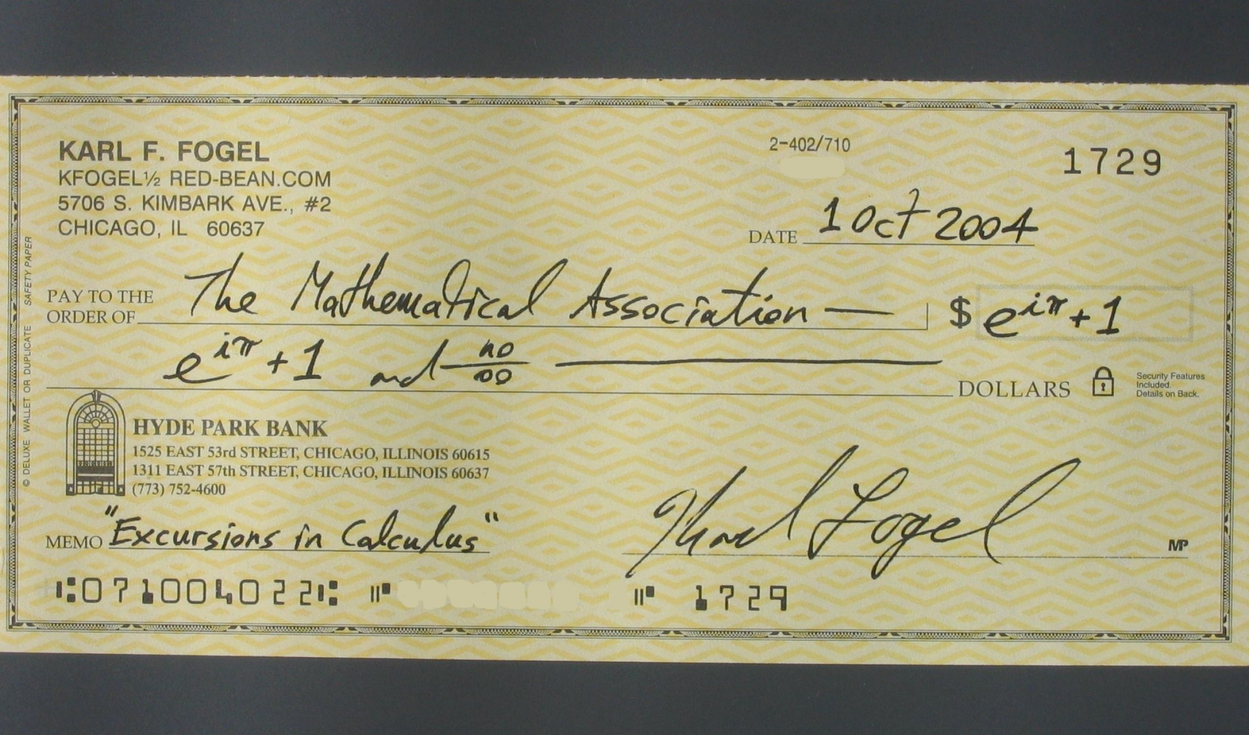 how to write a check for eighty one dollars