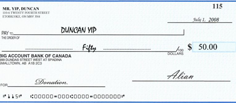 write a canadian cheque in usd