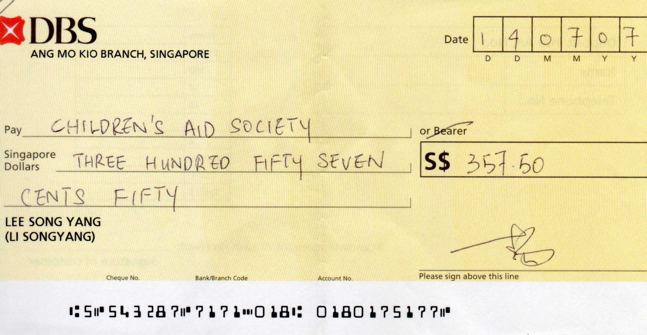 writing a cheque uk yahoo