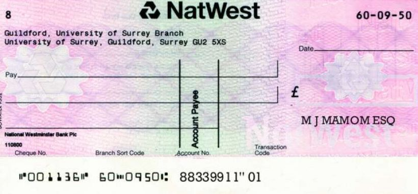 How to write a cheque in uk